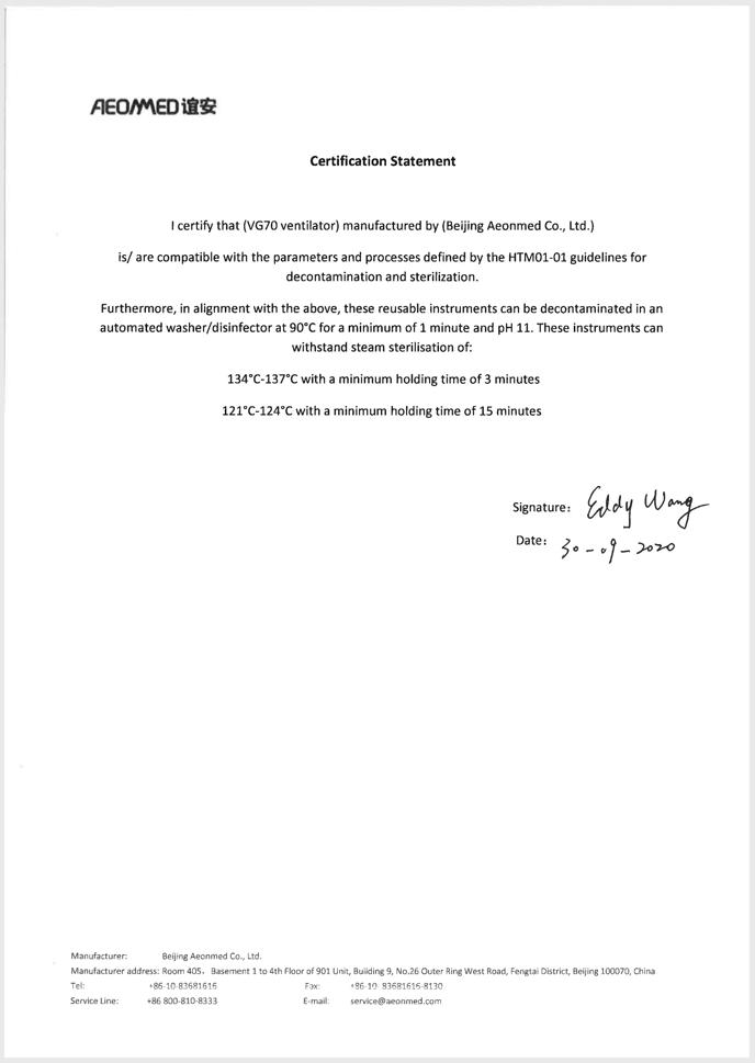 confirmation statement VG70 autoclaved HTM01-01