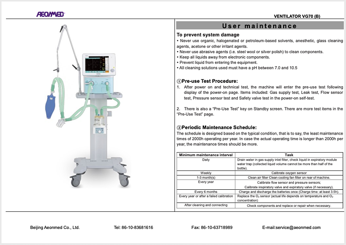 VG70 Operation Card