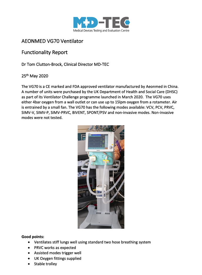 MD-TEC VG70 Report
