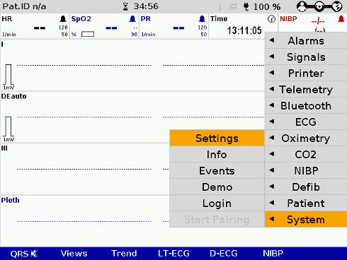 corpuls c3 system settings